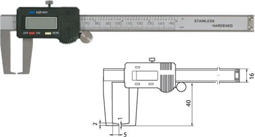 Digtale Außennutenschieblehre Messschieber 150 mm / 40 mm