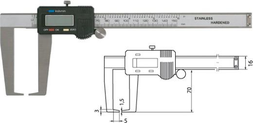 Digtale Außennutenschieblehre Messschieber 150 mm / 70 mm