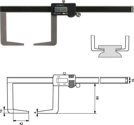 Digtale Außennutenschieblehre Messschieber 150 mm / 80 mm