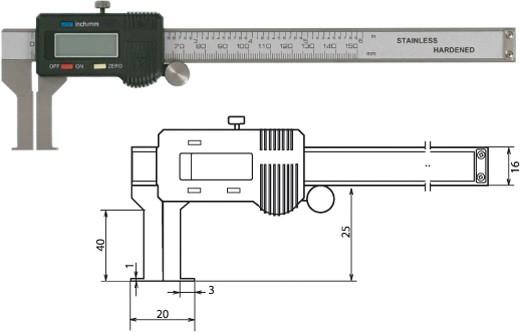 Digitale Innennuten-Schieblehre 20-170mm / 40mm