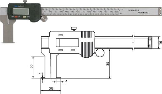 Digitale Innennuten-Schieblehre 25-225mm / 50mm