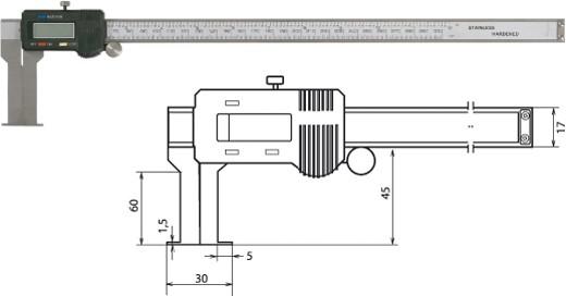 Digitale Innennuten-Schieblehre 30-330mm / 60mm