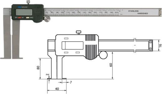 Digitale Innennuten-Schieblehre 40-240mm / 80mm