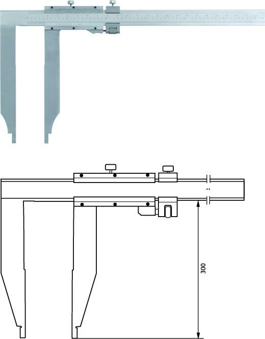 Nonius Werkstattschieblehre mit langen Messschenkeln 2000mm / 300mm